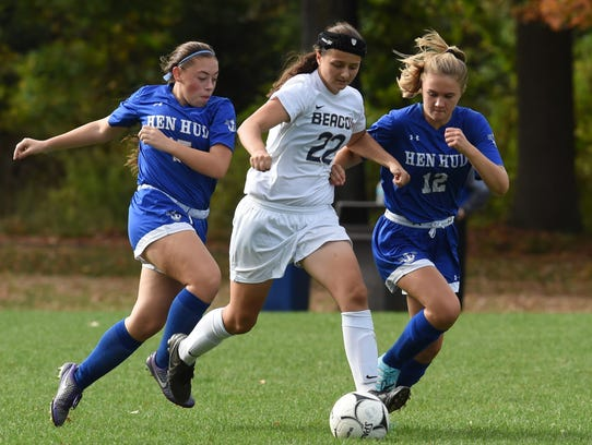 Beacon's Chloe Antalek, center, tries to move the ball