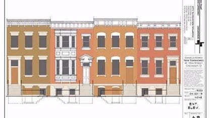 A drawing of the proposed townhome development planned near 15th and Elm streets in Over-the-Rhine.