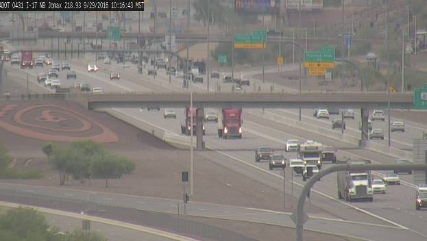 An ADOT camera shows Interstate 17 in Phoenix near Jomax Road.