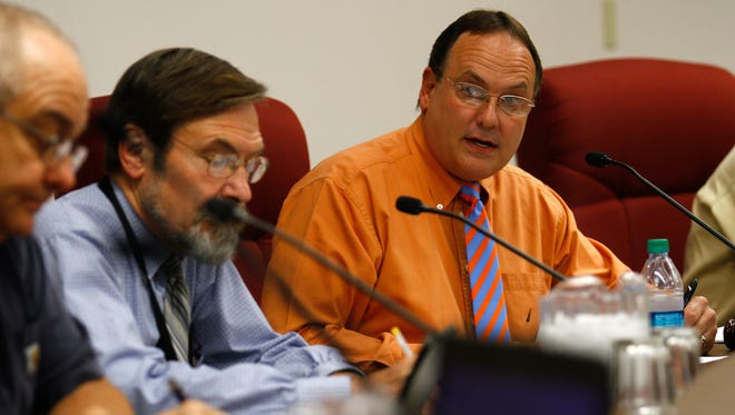 Bloomfield Mayor Scott Eckstein, right, speaks during a City Council meeting on Sept. 26 at City Hall.
