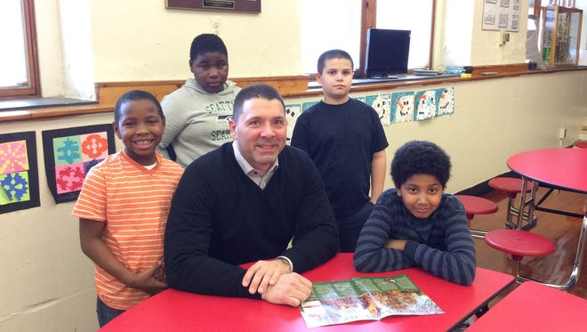Dan Falasca is surrounded by students from Wood School, where adult based 'Bigs' mentor elementary school-aged 'Littles' for one hour each week. The activities are organized and supported by Big Brothers Big Sisters of Cumberland & Salem Counties. According to the organization, these school-based mentoring relationships have proven to increase standardized test scores.