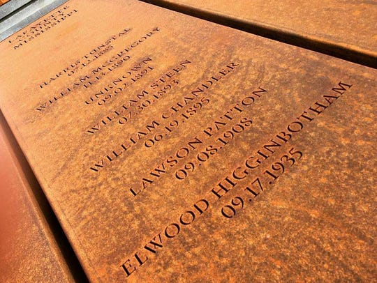 Monument at The National Memorial for Peace and Justice in Montgomery, Ala., representing lynchings in Lafayette County, Mississippi. This carries the name of Elwood Higginbotham, lynched Sep. 17, 1935. Photo by April Grayson.