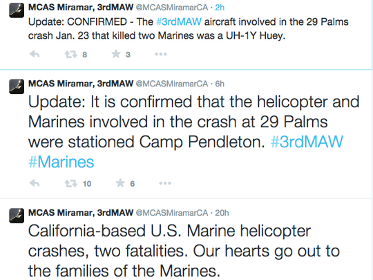 Tweets from official 3rd Marine Air Wing account