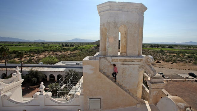 The east tower of Mission San Xavier del Bac, near Tucson, is the focus of a five-year restoration project slated to begin this summer. The $3 million job is the last major repair work needed on the church, which dates to the late 1700s and is Arizona's oldest European structure.