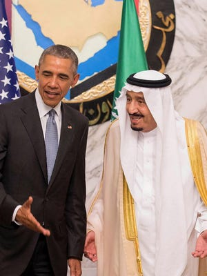 President Obama and Saudi King Salman in Riyadh on April 21, 2016.