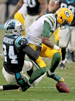 Green Bay Packers wide receiver Geronimo Allison (81) fumbles the ball after a catch late in the fourth quarter against the Carolina Panthers on Sunday, Dec. 17, 2017 at Bank of America Stadium in Charlotte, N.C.