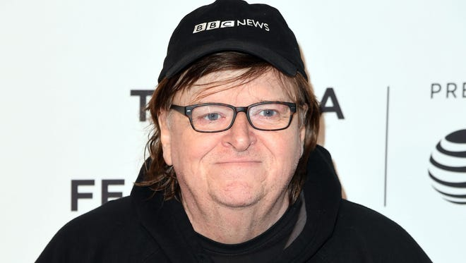 Director Michael Moore attends the 'Bowling for Columbine' 15th anniversary screening at Tribeca Film Festival on April 20 in New York.