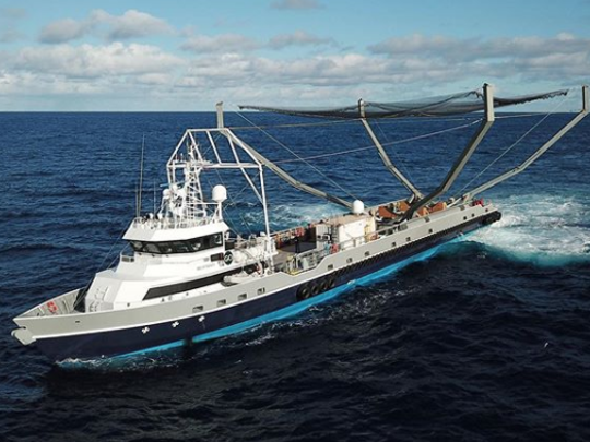 The Mr. Steven fairing-capturing boat operated by SpaceX. The company has since updated the net to be four times larger.