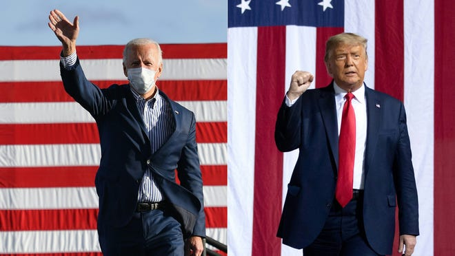 Democratic presidential nominee Joe Biden, left, and President Donald Trump, right, are pictured during their respective campaigns.