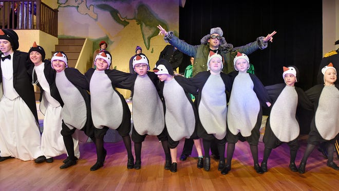 "Cast members rehearse a scene Tuesday, Feb. 23 from the upcoming GREAT Theatre production of ""Mr. Popper's Penguins"" at St. John's University in Collegeville."