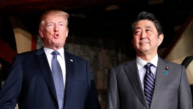 President Trump and Japanese Prime Minister Shinzo Abe in Tokyo on Nov. 5, 2017.