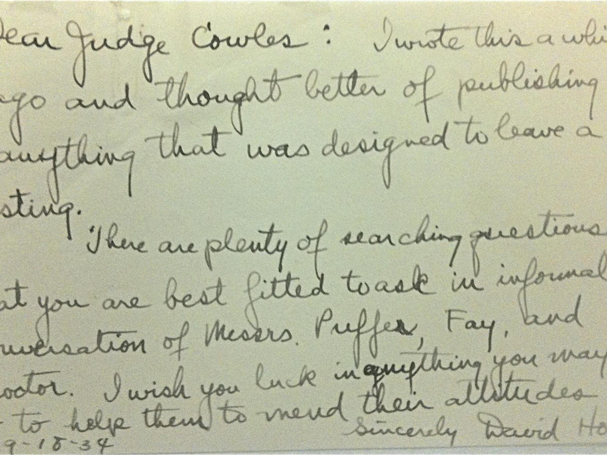 Howe letter to Cowles