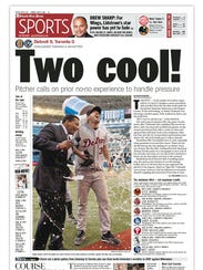 The Detroit Free Press sports front the day after Justin