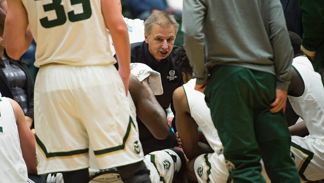 CSU basketball coach Larry Eustachy talks to his players during a timeout in a Nov. 23 game against Maryland-Eastern Shore at Moby Arena. The Rams' fifth-year coach and his players said they've come a long way since a difficult loss last year at Northern Colorado.