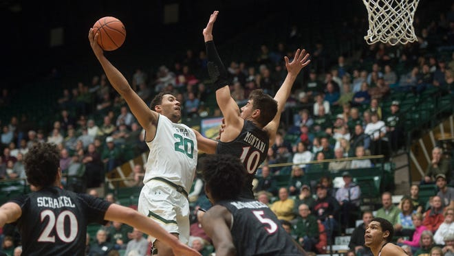 CSU forward Deion James tries to get around San Diego State forward Max Montana during a game at Moby Arena in Fort Collins, Colorado on Tuesday, January 2, 2018.