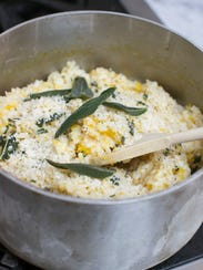 This Sept. 29, 2014 photo shows pumpkin risotto with