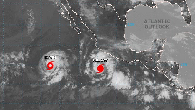 """Hurricane Hilary and soon-to-be Hurricane Irwin are forecast to engage in a """"dance of death"""" this week, courtesy of the Fujiwhara Effect."""