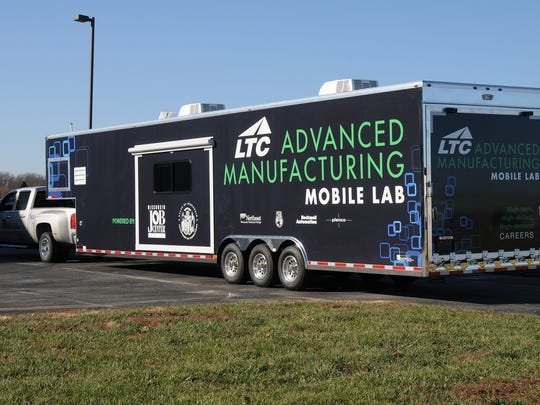 The Advanced Manufacturing Mobile Lab is a self-contained training lab designed to deliver manufacturing curriculum to high schools, businesses and the Department of Corrections. The Mobile Lab serves local employers with onsite, hands-on, mechanical skills and basic electrical skill assessments for current or potential employees.