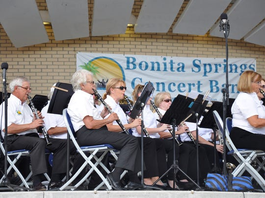 "The Bonita Springs Concert Band clarinet section plays ""The Star-Spangled Banner"" to open the Nov. 6 outdoor concert at Riverside Park."