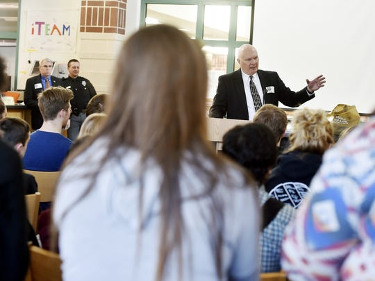 York County Court of Common Pleas Judge John S. Kennedy talks to Central York students about drug treatment court Thursday, April 14, 2016, at Central York. Law teacher Erin Walker had been planning an addiction education program for her class, but after the overdose death of senior Dylan Gross in March 2016, she moved up and expanded the program to be a week's worth of sessions to which teachers could bring classes or students could elect to attend.