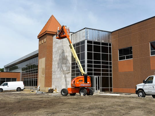 Construction continues on the exterior Tuesday, June 27, at the new Sartell Community Center.