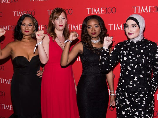 Carmen Perez, left, Bob Bland, Tamika D. Mallory and Linda Sarsour attend the TIME 100 Gala, celebrating the 100 most influential people in the world, at Frederick P. Rose Hall, Jazz at Lincoln Center on Tuesday, April 25, 2017, in New York.