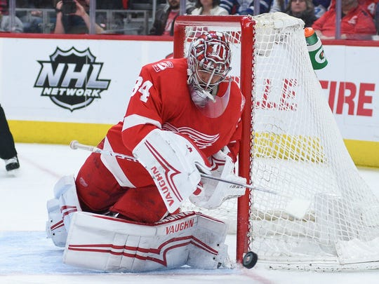 Red Wings goaltender Petr Mrazek (34) defends the net