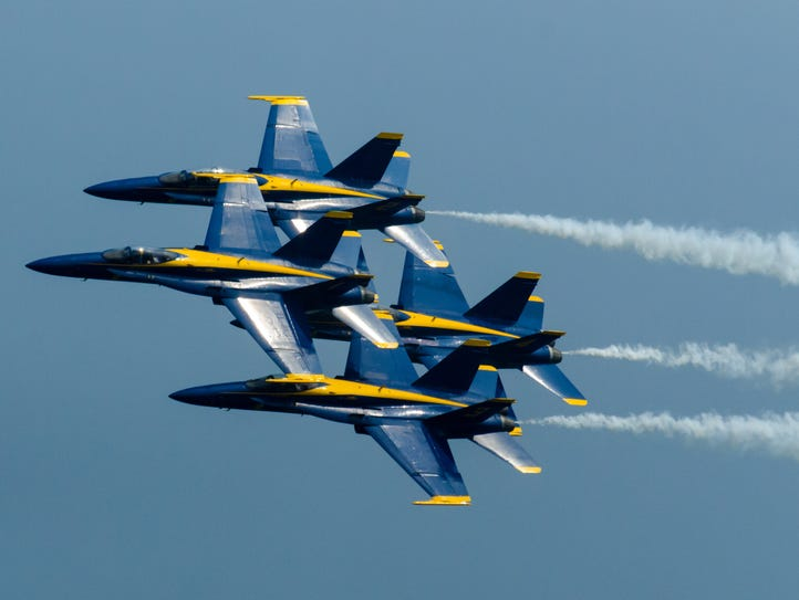 The Blue Angels perform during the Ocean City Air Show