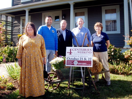 Union County Freeholder Vice Chairman Sergio Granados and Freeholders Christopher Hudak, Bette Jane Kowalski and Angel G. Estrada visited with Joyce Chiappetta of the Kenilworth Historical Society at The Nitschke House in Kenilworth during Union County's recent Four Centuries in a Weekend.