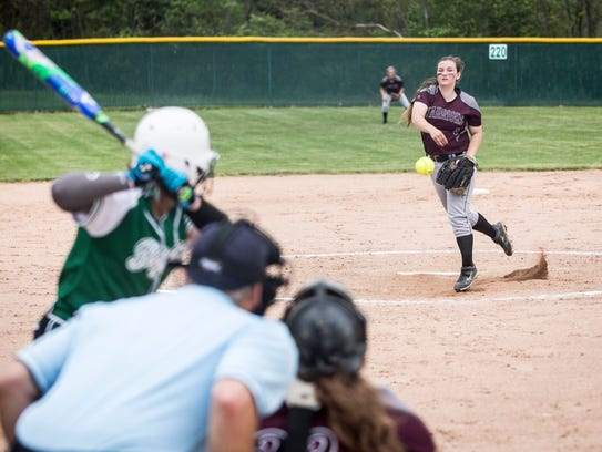 Wes-Del's Madison Herlyn pitches to Yorktown during