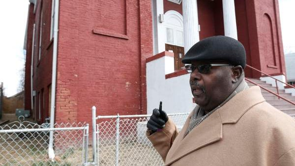 Chair of Trustees for the Calvary Baptist Church in Haverstraw, Wilbur T. Aldridge, talks about the steps the congregation will take on getting emergency repairs to a bowing wall that has made the church unsafe for occupancy by its congregation on March 24, 2014.