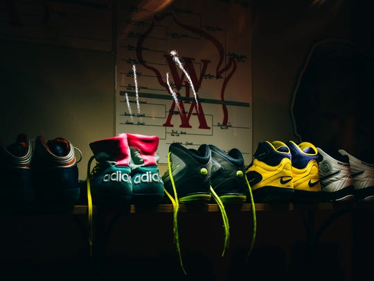 A small sampling of the 30 pairs of wrestling shoes