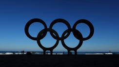 The Olympic Rings on the beach at Gangneung ahead of