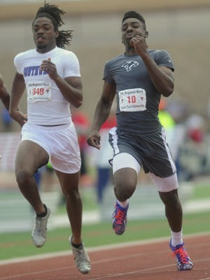 Cooper's Terreon Paige, right, races Fort Worth Southwest's Roderick Ford to the finish line in the boys 100 meters. Paige finished third in the event in 10.66 seconds, while Ford was fourth (10.72) Saturday, April 30, 2016. Paige's time was good enough to qualify for a wild-card berth at the state meet.