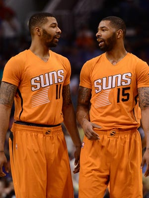 """Markieff (11) and Marcus Morris (15) are accused of assaulting a man that allegedly sent """"inappropriate"""" text messages to the twins' mother."""