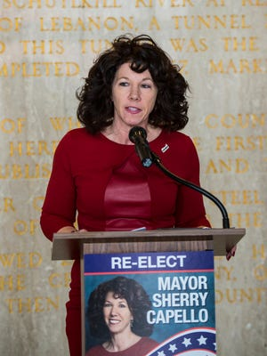 Lebanon Mayor Sherry Capello announces her re-election campaign on Tuesday, Jan. 31, 2016.