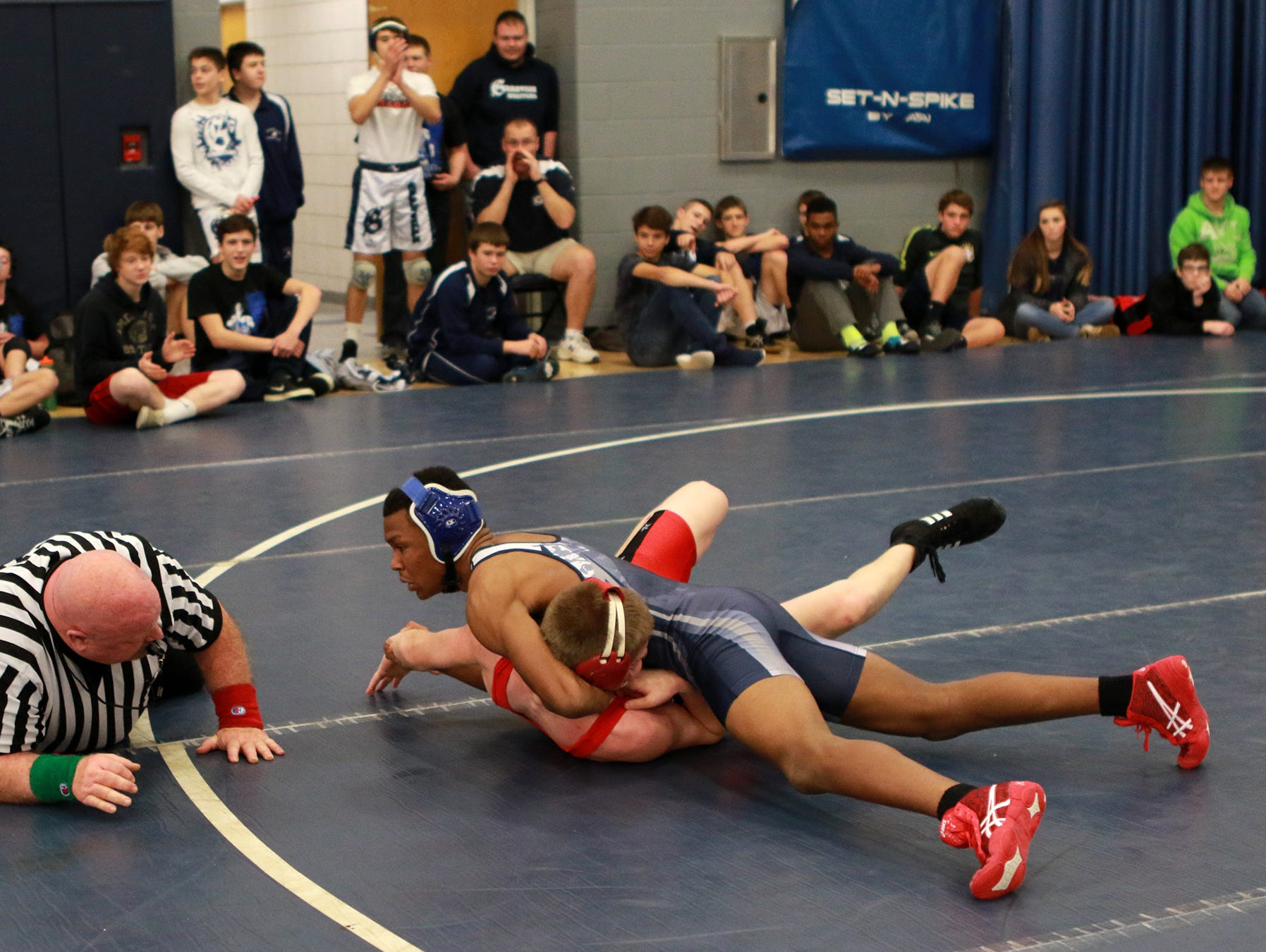 Tristan Haley of Granville pins Scott Bourff of Crooksville in the Granville Wrestling Invitational.
