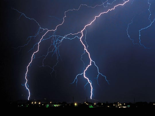 A file photo of lightning striking during a thunderstorm. More thunderstorms are expected to hit the Reno-Tahoe area.