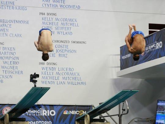 Michael Hixon, left, and Sam Dorman of Tempe won synchronized