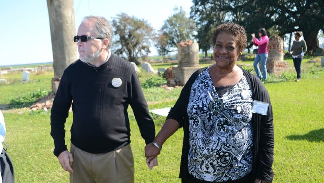 Frank Eakin (left), son of the late historian and journalist Sue Eakin, and Evelyn Jackson of Altadena, Calif., a descendant of Solomon Northup, the freed black man who was kidnapped and sold into slavery, visit sites along the Solomon Northup Trail on Sunday.