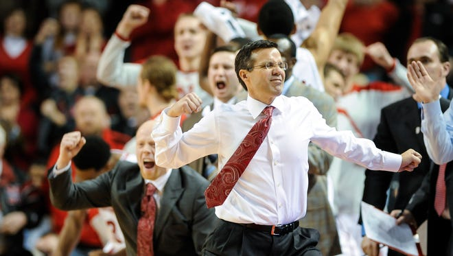 Head coach Tim Miles of the Nebraska Cornhuskers reacts to a play during a game against the Ohio State Buckeyesat Pinnacle Bank Arena on January 20, 2014 in Lincoln, Nebraska.