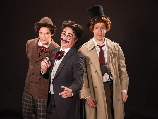 "Jim Poulos plays Chico (Willie Wony Diddydony), John Plumpis plays Mr. Hammer (Groucho), and Tasso Feldman plays Harpo (Silent Red) in the Utah Shakespeare Festival's 2016 production of ""The Cocoanuts."""