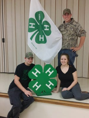(Sitting, from left) Ryan Rugenus and Sarah Lamplugh, Cumberland County 4-H Teen Council members selected to attend 4-H National Congress, are pictured with Cole Killeen, president of the 4-H Teen Council. Nikayla Hetzell (not pictured), another teen council member, also selected to attend.