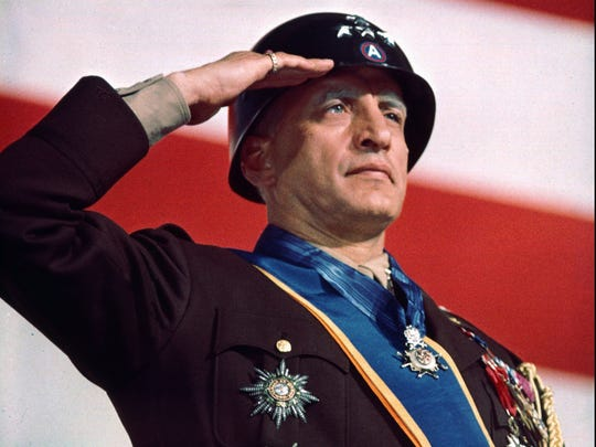 "Actor George C. Scott portrays World War II Gen. George S. Patton in the 1970 film ""Patton."""
