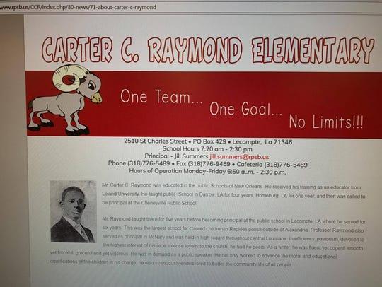 A short bio of the man Carter C. Raymond Elementary