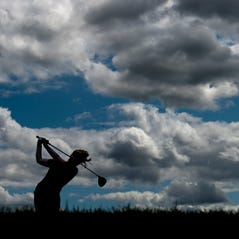 Nicole Broch Larsen, of Denmark, tees off on the 10th hole during the second round of the CP Women's Open in Aurora, Ontario, Friday, Aug. 23, 2019. (Frank Gunn/The Canadian Press via AP)