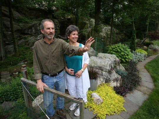 A garden at Louise Edeiken and Eliot Goldfinger's New Rochelle home June 10, 2014.