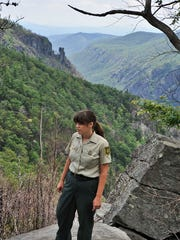 Forest Service natural resource specialist Lisa Jennings checks on plant regrowth in the area around Table Rock. A wildfire in November, 2013, burned much of this area in Linville Gorge. In the background of this photo is the Chimneys area.
