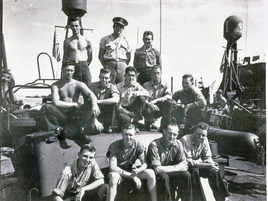 Jay Vee Fried, middle row second from right, served on a PT Boat in the United States Navy.