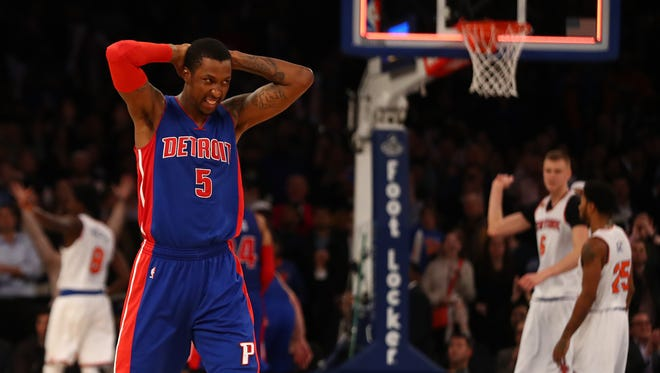 Kentavious Caldwell-Pope of the Detroit Pistons reacts after losing 105-102 against the New York Knicks  at Madison Square Garden on Nov. 16, 2016 in New York City.